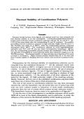 Thermal stability of coordination polymers.