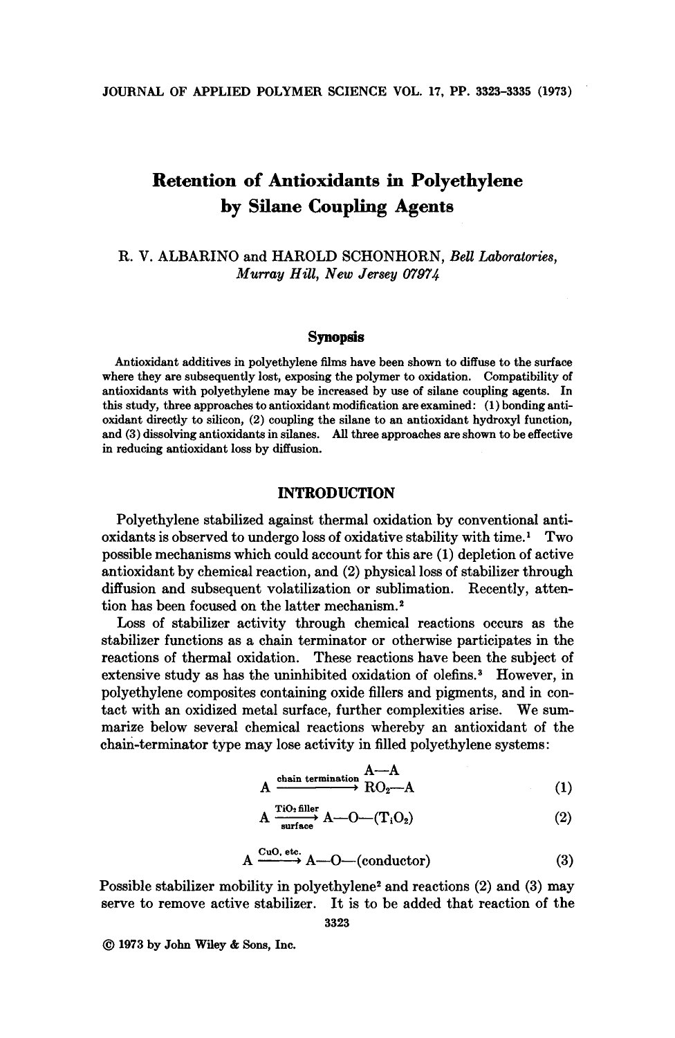 Retention of antioxidants in polyethylene by silane coupling