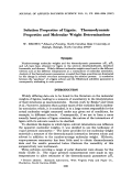 Solution properties of lignin. Thermodynamic properties and molecular weight determinations
