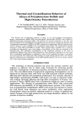 Thermal and crystallization behavior of alloys of polyphenylene sulfide and high-density polyethylene.