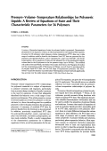 PressureЦvolumeЦtemperature relationships for polymeric liquids  A review of equations of state and their characteristic parameters for 56 polymers.