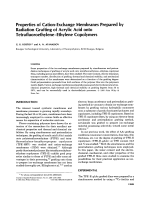 Properties of cation-exchange membranes prepared by radiation grafting of acrylic acid onto tetrafluoroethyleneЦethylene copolymers.