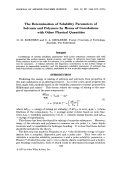 The determination of solubility parameters of solvents and polymers by means of correlations with other physical quantities.