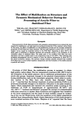 The effect of modification on structure and dynamic mechanical behavior during the processing of acrylic fiber to stabilized fiber.