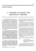 A uniform database for rheumatic diseases. Prepared by the computer committee of the american rheumatism association