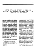 Acute Metabolic Effects of Nitrogen Mustard and Thiotepa on Rabbit Articular Cartilage and Synovium.