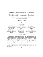 American Association of Anatomists. Sixty-ninth annual session; Marquette University School of Medicine  Milwaukee  Wisconsin  April 4  5  6  1956. Officers  abstracts  demonstrations (pp. 249 У388)