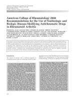 American College of Rheumatology 2008 recommendations for the use of nonbiologic and biologic disease-modifying antirheumatic drugs in rheumatoid arthritis.