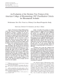 An evaluation of the decision tree format of the American College of Rheumatology 1987 classification criteria for rheumatoid arthritisPerformance over five years in a primary carebased prospective study.