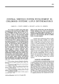 Central Nervous System Involvement in Childhood Systemic Lupus Erythematosus.