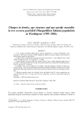 Changes in density  age structure and age-specific mortality in two western pearlshell (Margaritifera falcata) populations in Washington (1995 У2006).