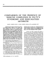 Comparison Of The Presence Of Immune Complexes In Felty'S Syndrome And Rheumatoid Arthritis.
