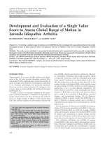 Development and evaluation of a single value score to assess global range of motion in juvenile idiopathic arthritis.