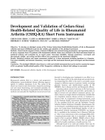 Development and validation of Cedars-Sinai Health-Related Quality of Life in Rheumatoid Arthritis CSHQ-RA short form instrument.
