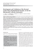 Development and validation of the revised Cedars-Sinai health-related quality of life for rheumatoid arthritis instrument.