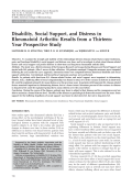 Disability social support and distress in rheumatoid arthritisResults from a thirteen-year prospective study.