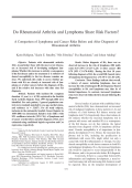 Do rheumatoid arthritis and lymphoma share risk factorsA comparison of lymphoma and cancer risks before and after diagnosis of rheumatoid arthritis.
