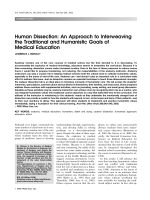 Human dissectionAn approach to interweaving the traditional and humanistic goals of medical education.