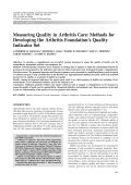 Measuring quality in arthritis careMethods for developing the Arthritis Foundation's quality indicator set.