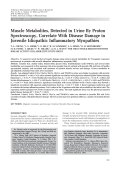 Muscle metabolites detected in urine by proton spectroscopy correlate with disease damage in juvenile idiopathic inflammatory myopathies.