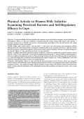 Physical activity in women with arthritisExamining perceived barriers and self-regulatory efficacy to cope.
