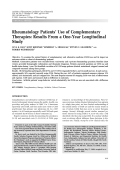 Rheumatology patients' use of complementary therapiesResults from a one-year longitudinal study.