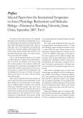 Selected Papers from the International Symposium on Insect Physiology  Biochemistry and Molecular Biology ФPresented at Shandong University  Jinan  China  September 2007. Part I