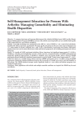 Self-management education for persons with arthritisManaging comorbidity and eliminating health disparities.