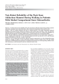 Testretest reliability of the peak knee adduction moment during walking in patients with medial compartment knee osteoarthritis.