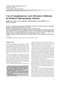 Use of complementary and alternative medicine by pediatric rheumatology patients.