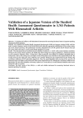 Validation of a Japanese version of the Stanford Health Assessment Questionnaire in 3763 patients with rheumatoid arthritis.