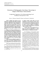 Detection of radiographic joint space narrowing in subjects with knee osteoarthritisLongitudinal comparison of the metatarsophalangeal and semiflexed anteroposterior views.