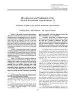Development and validation of the health assessment questionnaire IIA revised version of the health assessment questionnaire.