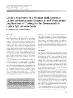 Devic's syndrome in a woman with systemic lupus erythematosusDiagnostic and therapeutic implications of testing for the neuromyelitis optica IgG autoantibody.