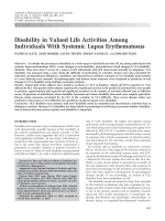 Disability in valued life activities among individuals with systemic lupus erythematosus.