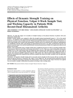 Effects of dynamic strength training on physical function Valpar 9 work sample test and working capacity in patients with recent-onset rheumatoid arthritis.