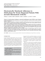 Electronically monitored adherence to medications by newly diagnosed patients with juvenile rheumatoid arthritis.
