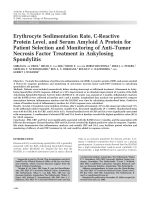 Erythrocyte sedimentation rate C-reactive protein level and serum amyloid A protein for patient selection and monitoring of antitumor necrosis factor treatment in ankylosing spondylitis.
