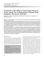 Evaluation of the effect of antitumor necrosis factor agent use on rheumatoid arthritis work disabilityThe jury is still out.