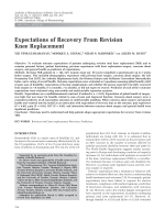 Expectations of recovery from revision knee replacement.