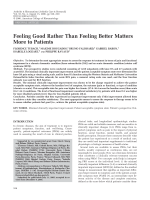 Feeling good rather than feeling better matters more to patients.