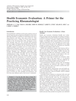 Health economic evaluationA primer for the practicing rheumatologist.