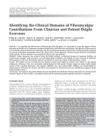 Identifying the clinical domains of fibromyalgiaContributions from clinician and patient delphi exercises.