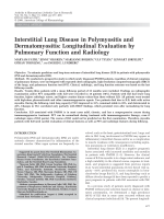 Interstitial lung disease in polymyositis and dermatomyositisLongitudinal evaluation by pulmonary function and radiology.