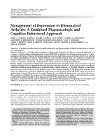 Management of depression in rheumatoid arthritisA combined pharmacologic and cognitive-behavioral approach.