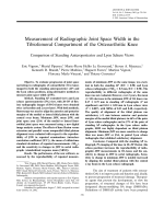 Measurement of radiographic joint space width in the tibiofemoral compartment of the osteoarthritic kneeComparison of standing anteroposterior and Lyon Schuss views.