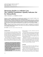 Measuring quality in arthritis careThe Arthritis Foundation's Quality Indicator set for osteoarthritis.