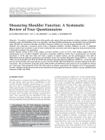 Measuring shoulder functionA systematic review of four questionnaires.