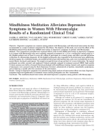 Mindfulness meditation alleviates depressive symptoms in women with fibromyalgiaResults of a randomized clinical trial.