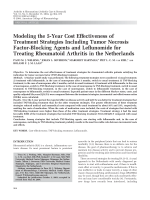 Modeling the 5-year cost effectiveness of treatment strategies including tumor necrosis factor-blocking agents and leflunomide for treating rheumatoid arthritis in the Netherlands.
